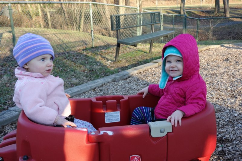 Girls Chillin in a Wagon